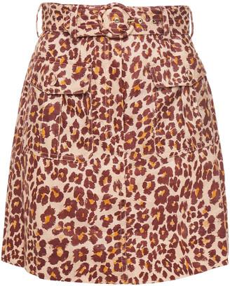 Zimmermann Belted Printed Linen Mini Skirt