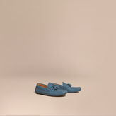 Burberry Tasselled Grainy Leather Loafers , Size: 44.5, Blue