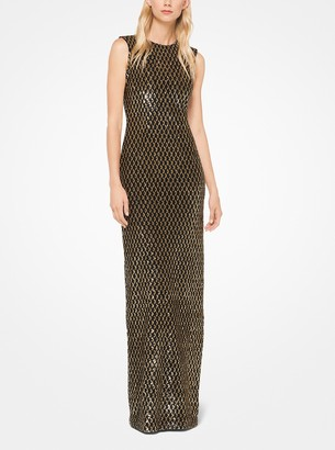 Michael Kors Collection Geometric Sequined Stretch-Tulle Gown
