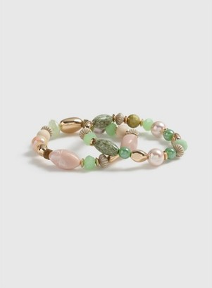 Dorothy Perkins Womens Green Bead Stretch Bracelet, Green