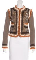 Tory Burch Tweed-Paneled Collarless Jacket