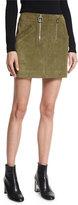 Courreges Suede Double-Zip Skirt, Khaki