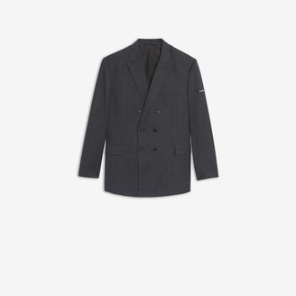 Balenciaga Washed Double Breasted Jacket in grey and black checked light tailoring wool