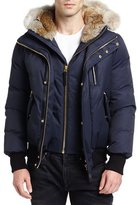 Mackage Dixon-C Lux Down Bomber Jacket w/Fur-Lined Hood, Navy