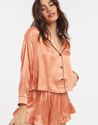 Topshop satin pyjama set in apricot
