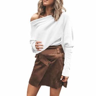 iHAZA Off Shoulder Knit Tops Women Long Sleeve Jumper Sweatshirt Casual Blouse White