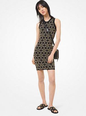 Michael Kors Floral Embellished Stretch Viscose Dress