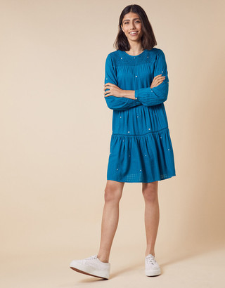 Monsoon Embroidered Dot Tiered Dress Teal