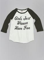 Junk Food Clothing Kids Girls Wanna Have Fun Raglan-sugar/black Wash-l