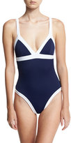 Milly Italian Solid Colorblock Scoop-Back One-Piece Swimsuit, Blue/White