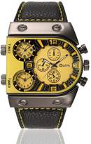 OULM Men's Business Military Mutil Time Zone PU Leather Band Quartz Waist Watches
