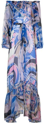 Emilio Pucci Wally-print ruffled gown