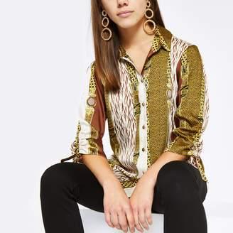 River Island Womens Petite Brown mixed print boyfriend shirt