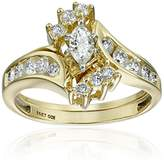 IGI Certified 14k Gold Bypass Diamond (1cttw, H-I Color, I1-I2 Clarity) with Marquise Wedding Bridal Ring Set, Size 7