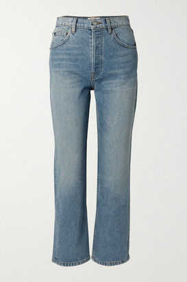 Reformation Cynthia Cropped High-rise Straight-leg Jeans - Blue