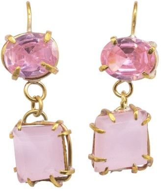 Lily Flo Jewellery Coralia Pink Zircon & Rose Quartz Drop Earrings