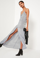 Missguided Grey Lace Panel Button Down Maxi Dress