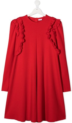 Il Gufo Ruffle-Trimmed Long Sleeved Dress