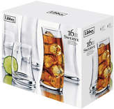 Libbey Set of 16 Swerve Tall and Short Glasses