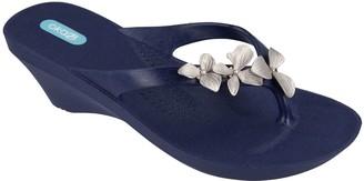 OKA b. Orchid Flower Wedge Sandals - Myrtle