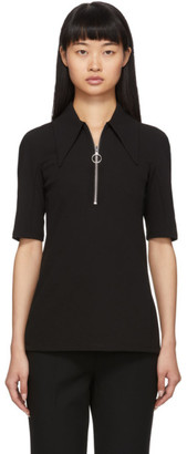 Tibi Black Crepe Structured Polo
