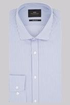 Moss Bros Premium Extra Slim Fit Blue Single Cuff Stripe Shirt