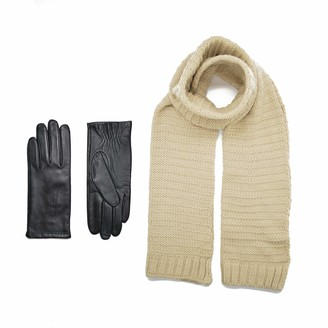 Zen Elk Women's Knit Scarf and Black Touch Screen Leather Gloves Winter Set (Small