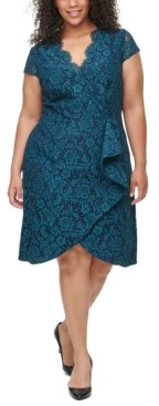 Vince Camuto Plus Size Ruffle-Trim Lace Dress