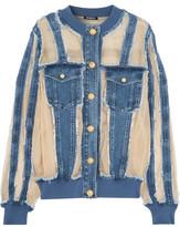 Balmain Silk Organza-Paneled Frayed Denim Jacket