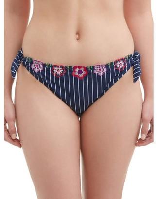 Time and Tru Women's Stripe and Floral Side Tie Swimsuit Bikini Bottom
