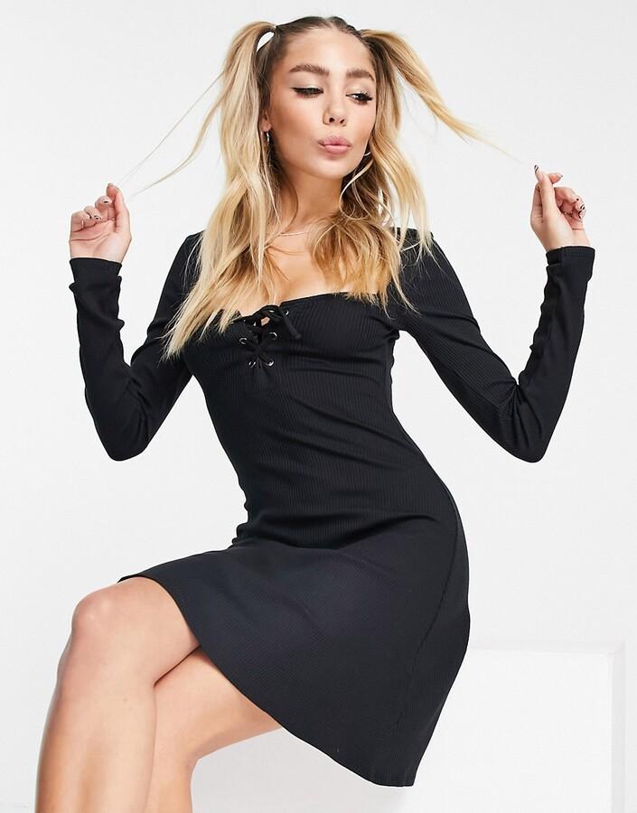 Topshop tie-front bodycon mini dress in black
