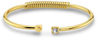 2028 14K Gold-Dipped Initial and Clear Crystal Accent C-Cuff Bracelet