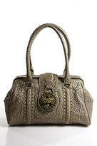 Botkier Metallic Beige Textured Leather Medium Satchel Handbag