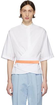 Haider Ackermann White and Orange Silk Wrap Belt Shirt