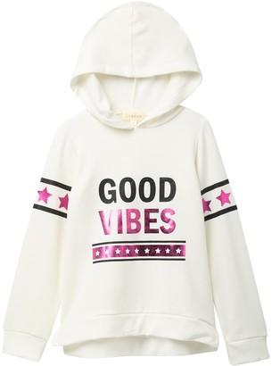 Btween Banded High/Low Foil Hooded Pullover (Big Girls)