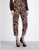 Rodarte Floral-print tapered silk-blend trousers