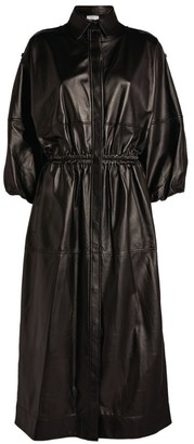 Gabriela Hearst Leather Ares Shirt Dress