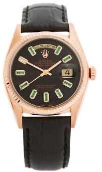 Lizzie Mandler - Vintage Rolex Day-date Emerald & 18kt Gold Watch - Rose Gold