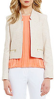 Calvin Klein Tweed Stripe Suiting Notched V-Neck Open Front Jacket