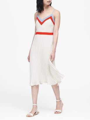 Banana Republic Petite Color-Block Pleated Midi Dress