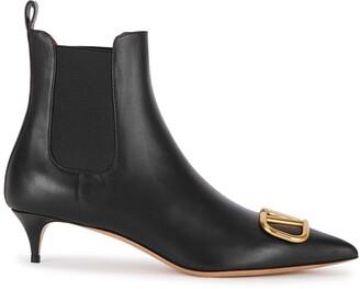 Valentino Garavani VLogo 40 Black Leather Ankle Boots