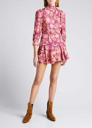 LoveShackFancy Mayberry Floral Mock-Neck Mini Dress