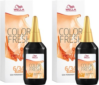 Wella Professionals Color Fresh Semi-Permanent Colour Dark Gold Red Blonde 75ml Duo Pack