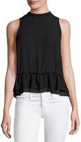 Romeo & Juliet Couture Chiffon Ruffle-Hem Tank Top, Black