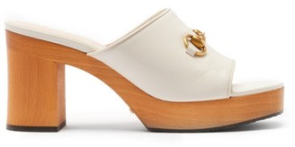 Gucci Houdan Horsebit Leather Platform Mules - White