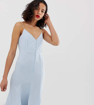 New Look maxi dress with button detail in pale blue-Silver