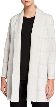 Eileen Fisher Windowpane Wool Shawl-Collar Cardigan