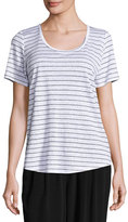 Eileen Fisher Organic Linen Striped Tee, White/Black, Plus Size