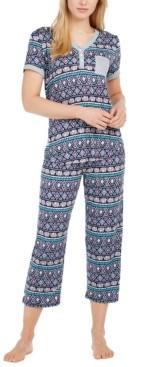 Cuddl Duds Henley Top & Capri Pants Pajama Set