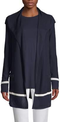 St. John Birdseye Drape Front Cardigan
